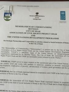 Memorandum of Understanding between City of Sisak, CRP Sisak and UNDP